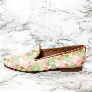 Zalo Peach & Green Needlepoint Checkered Loafers